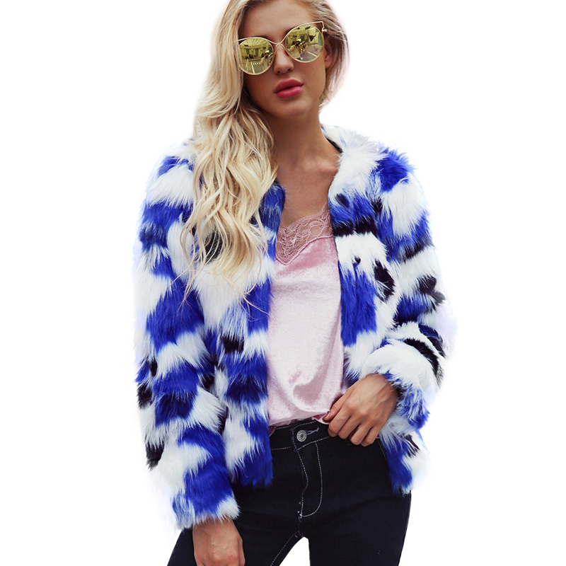 Women Plus Size Jacket Faux Fur FluffyCoat Color Block Pelliccia Donna Printed Long Sleeve Shaggy Winter Warm Slim Outerwear