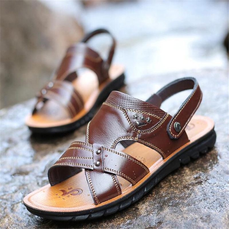Leather sandals 2019 summer new first layer leather beach shoes men 39 s leather sandals and slippers men 39 s sandals sneakers in Men 39 s Sandals from Shoes