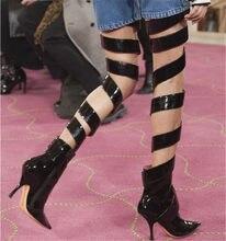 941b04c432 2019 Pista Cruz Gladiador Coxa Botas Altas Designers Cut-out Sapatos de  Salto Alto Mulheres Moda de Passarela Das Mulheres Sobre.