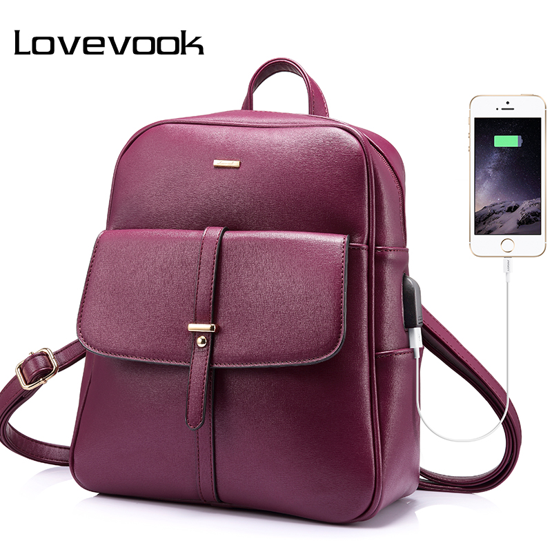 LOVEVOOK backpack female schoolbag for girls teenagers large women backpack with anti theft external USB ladies hand bags 2018