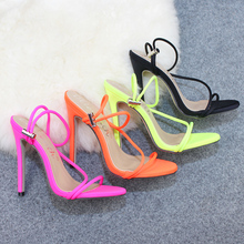 2019 Women Size 43 Flock Extreme 12cm High Heels Fetish Sandals Female Gladiator Cheap Strap Shoes Lady Nude Valentine Red Pumps