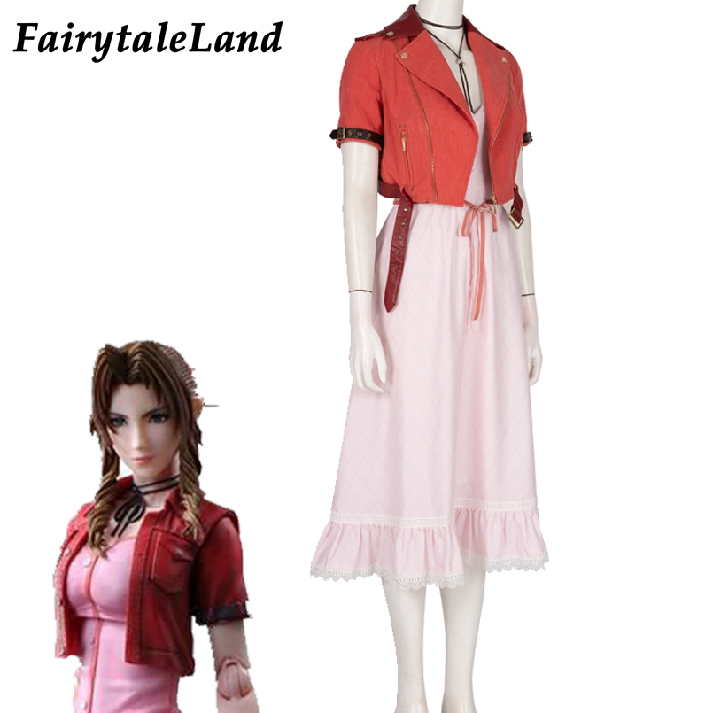 Final Fantasy VII Remake Cosplay Aerith Gainsborough CostumeDress Halloween costume PS4 game FF7 Remake Jacket  costume suit Top