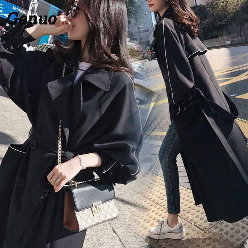 Elegant turndown long   trench   coat female Double-breast belt windbreaker women Casual autumn women coat cool X-long outerwear