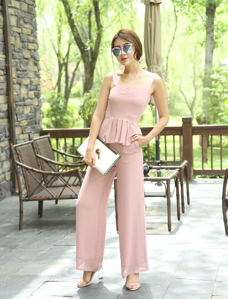 2018 Summer Women Two Piece Set Top and Pants Party Sleeveless Chiffon Slash Neck Elegant Pink Color Full Length Woman Clothes