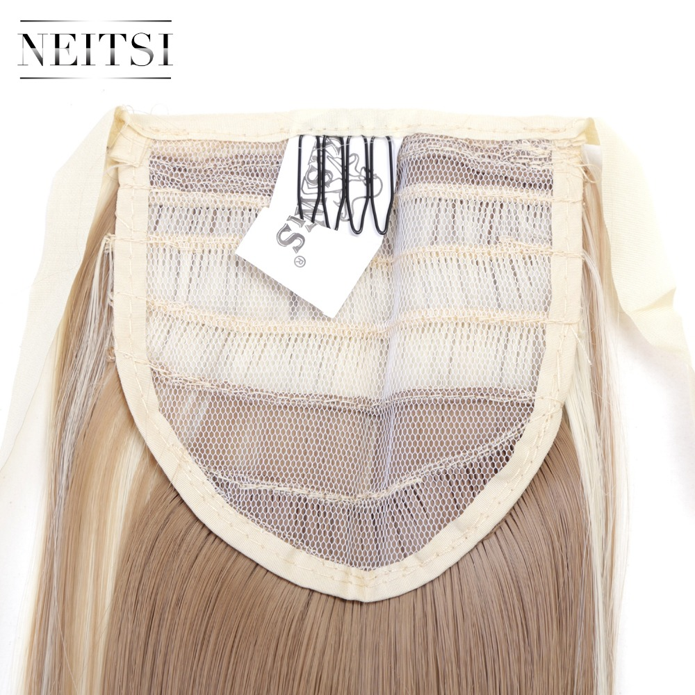 Neitsi Straight Long Clip In Hair Tail False Hair Ponytail Hairpiece With Hairpins Synthetic HairF22 613 in Braid Maintenance from Beauty Health