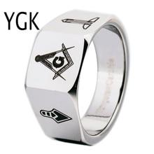 YGK Brand 12MM Men's Faced Tungsten Carbide Ring Mason Freemason Masonic Design for Man and Woman's Wedding