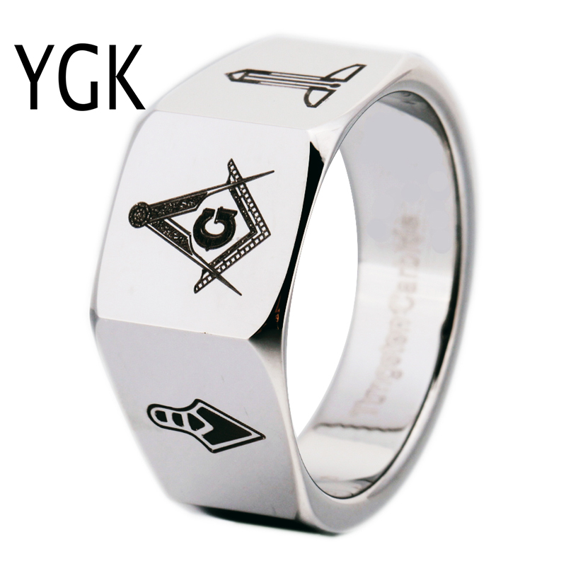 YGK Brand 12MM Men's Faced Tungsten Carbide Ring Mason Freemason Masonic Design for Man and Woman's Wedding