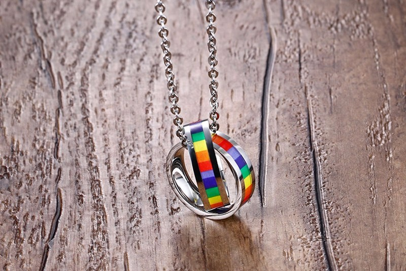 Double Circle Stainless Steel Rainbow Pendant Necklace