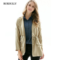 BURDULLY 2019 Ladies Classic Spring Thin Trench Coat For Women Autumn Windbreaker Female Turn down Collar Overcoat Outerwear