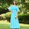 Dressv Blue Long Bridesmaid Dress Off The Shoulder Half Sleeves A Line Ruched Simple Custom Wedding