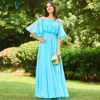 Dressv Blue Long Bridesmaid Dress Off The Shoulder Half Sleeves A Line Ruched Simple Custom Wedding