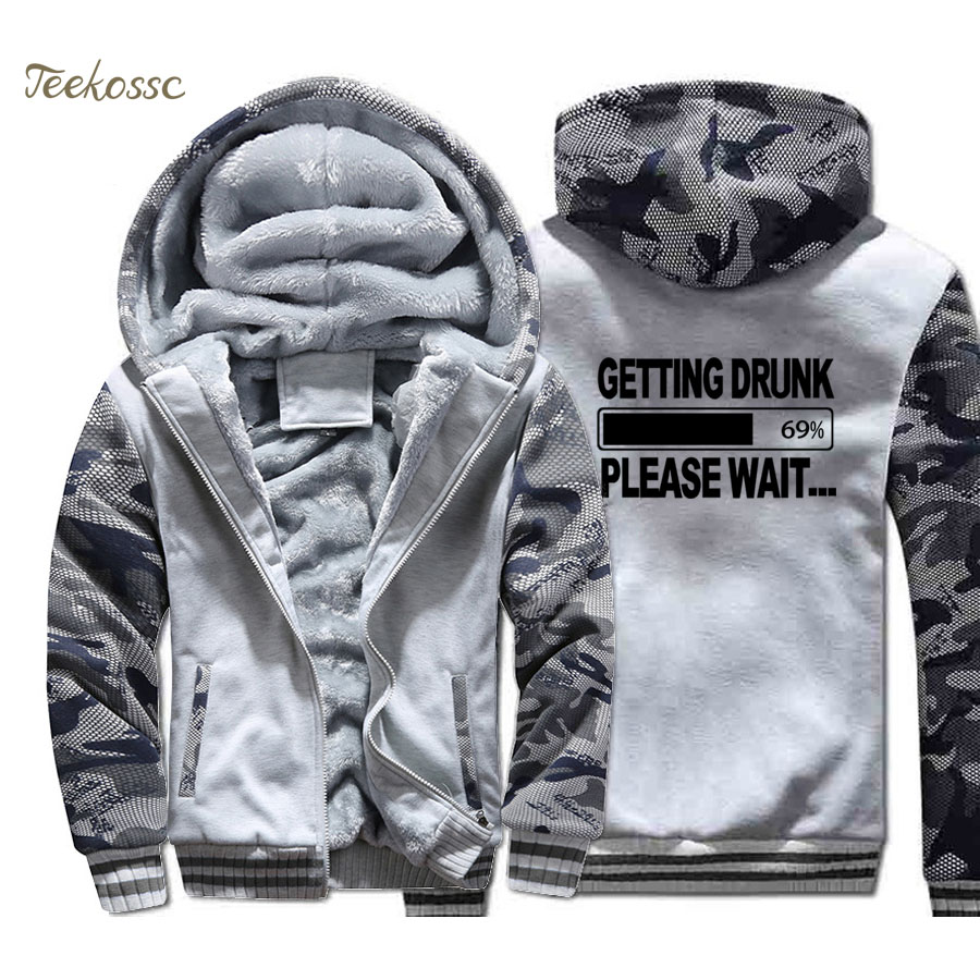 Getting Drunk Please Wait Beer Hoodie Men Hooded Sweatshirt Coat 2018 Winter Thick Fleece Warm Zip up Camouflage Jacket Homme in Hoodies amp Sweatshirts from Men 39 s Clothing