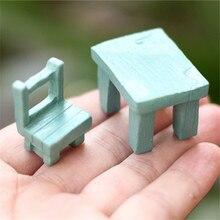 Mini escritorio y silla de estilo vintage/6 uds/3 colores/jardín de hadas/material DIY/bonsái/Decoración de terrario/amantes/regalos para niños/
