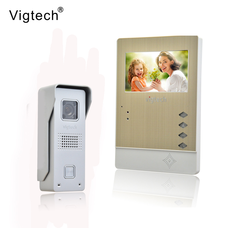 Vigtech Home Wired Cheap 4.3' inch LCD Color Video Door Phone DoorBell Intercom System IR Night vision Camera FREE SHIPPING home 7 inch color lcd video door phone intercom system with night vision doorbell camera 4m cable free shipping