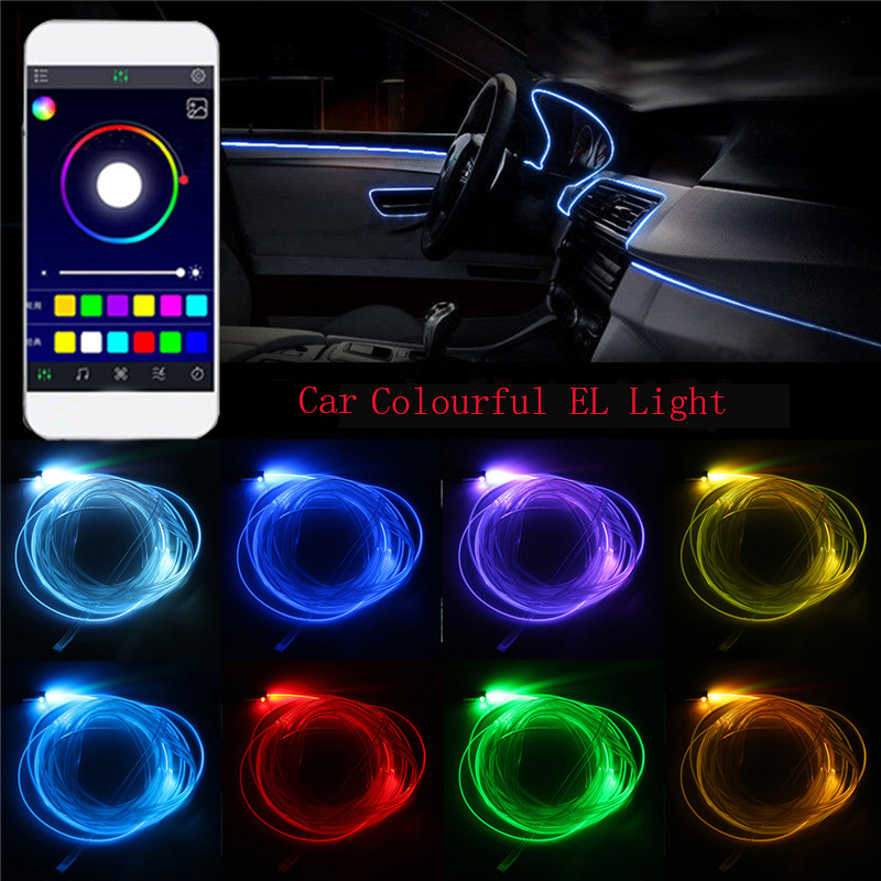 6M APP control Electroluminescent Flexible El Wire Car interior decorative Colorful Glow Rope Tube for dashboard drop door galle