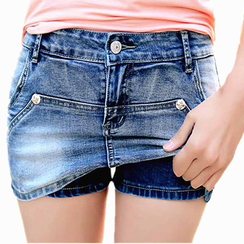 Denim Skort <font><b>Shorts</b></font> For <font><b>Women</b></font> 2018 Summer New Arrival Double Zipper Fashion <font><b>Sexy</b></font> Woman <font><b>Mini</b></font> Jean <font><b>Shorts</b></font> Skirt Plus Size image