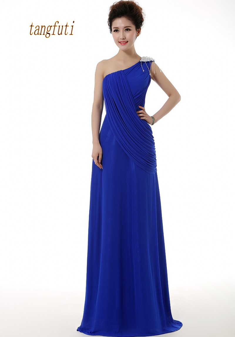 Long   Evening     Dresses   One Shoulder Pleats Beading Floor Length Chiffon A Line Formal Party Gowns Simple