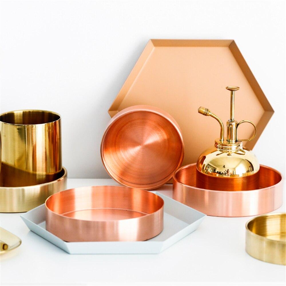 Nordic Медь круглый лоток для хранения стол для хранения металла организатор розовое золото ювелирные изделия Органайзер для хранения мелких ... ...