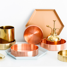 Nordic Copper Round Storage Tray Desk Metal Storage Organizer Rose Gold Jewelry Organizer Small Items Storage Dishes Home Decor