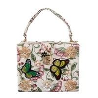 Fashion Pearl Rose Embroidery Designer Party Purse Ladies Shoulder Bag Clutch Evening Bag Mini Tote Handbags