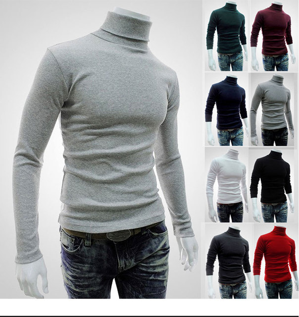 3681af07292235 2017 New style mens high neck sweater long sleeve t shirt basic plain  turtleneck t shirts Autumn Winter keep warm Solid color