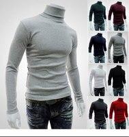 2016 New Style Mens High Neck Long Sleeve T Shirt Basic Plain Turtleneck T Shirts Autumn