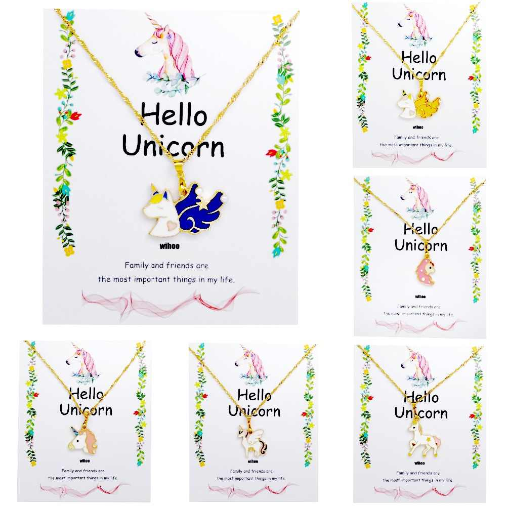 Unicorn Necklace Card Pendant Wihoo Horse Women Pendant Children Girls Cute Fashion Jewelry Gift Kids Enamel Party Gold