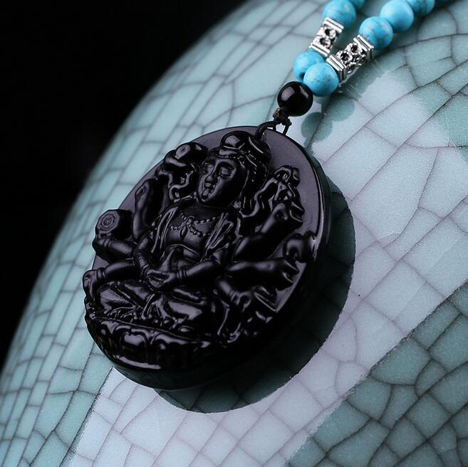 Free shipping drop shipping Obsidian long sweater chain of guanyin original design