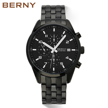 New BERNY Multifunction Full Steel Mens Watches Top Brand Luxury Clock Quartz Men Military Chronograph Sports Waterproof