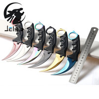 Jelbo 1PCS Karambit Knife With Sheath Tactical Survival Tools Knife Combat Fight Outdoor Hunting Knife Self