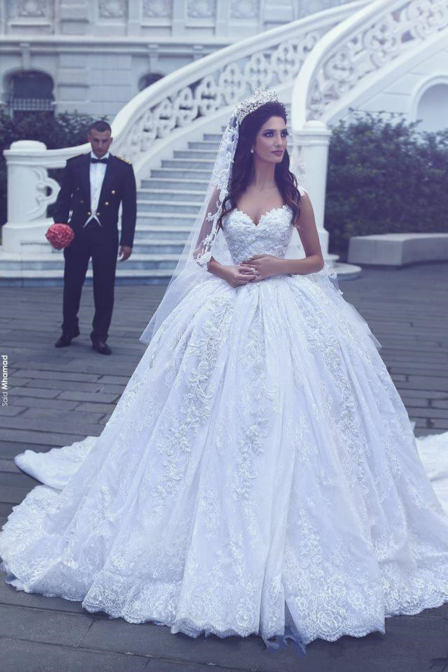 Luxury ball gown wedding dresses with long train 2017 for Ball wedding dresses 2017