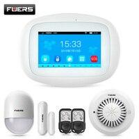 FUERS K52 หน้าจอสี TFT 4.3 นิ้วแท็บเล็ต WIFI GSM Home Security Alarm System APP ควบคุม PIR Motion Sensor ประตูเครื่องตรวจจับควัน