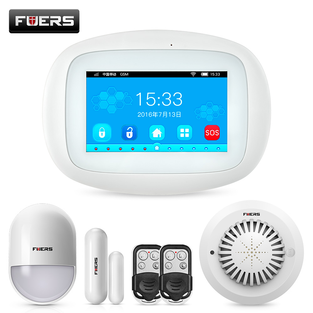FUERS K52 4.3 inch TFT Color Screen Tablet WIFI GSM Home Security Alarm System APP Control PIR Motion Sensor Door Smoke detectorFUERS K52 4.3 inch TFT Color Screen Tablet WIFI GSM Home Security Alarm System APP Control PIR Motion Sensor Door Smoke detector