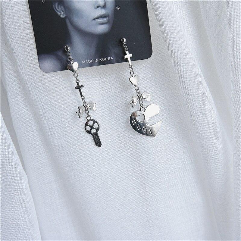 Personality retro geometric heart shaped bow cross key pendant earrings 2019 fashion new punk charm Men Women earrings jewelry in Drop Earrings from Jewelry Accessories