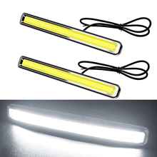 купить 2pcs Waterproof Super Bright White Daytime Running Light COB DRL LED Daytime Driving Lamp 12V Car Tuning For Hyundai Renault Kia дешево