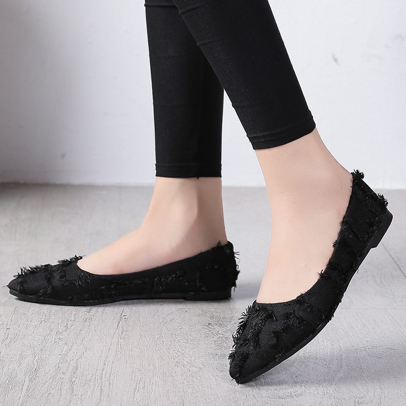 Femmes Flats Dames Glissement Fringe Femme Des Style Ballet Zapatos Nouveau Sur Pointu Sheos Sheos Appartements Green Mujer Chaussures black Mocassins Bout 2018 Coton khaki Sheos r0Hr6q