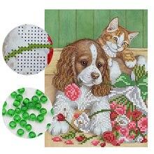Рукоделие, сделай сам, вышивка бисером, вышивка, собака и кошка, для женщин, точная печать, живописный узор, вышивка крестиком, стена dec