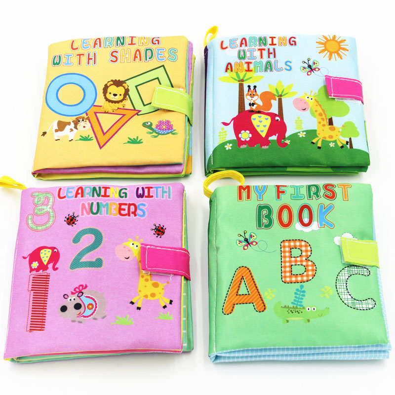 4 Style Baby Toys Soft Cloth Books Rustle Sound Infant Educational Stroller Rattle Toy Newborn Crib Bed Baby Toys 0-36 Months