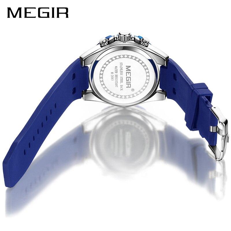 646744b041f8 Relojes de cuarzo creativos de silicona para hombre reloj deportivo  cronógrafo MEGIR reloj de pulsera militar reloj de pulsera reloj Masculino  en Relojes de ...