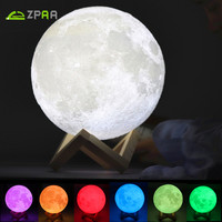 Rechargeable 3D Print Moon Light Touch Switch Moon Lamp 18CM 20CM LED Bedside Bookcase Night Light