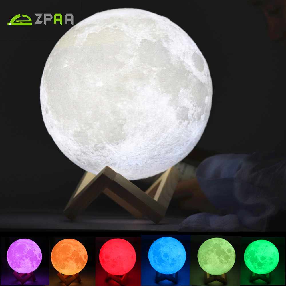 Rechargeable 3D Print Moon Light Touch Switch Moon Lamp 18CM 20CM LED Bedside Bookcase Night Light Home Decororation Luminaria
