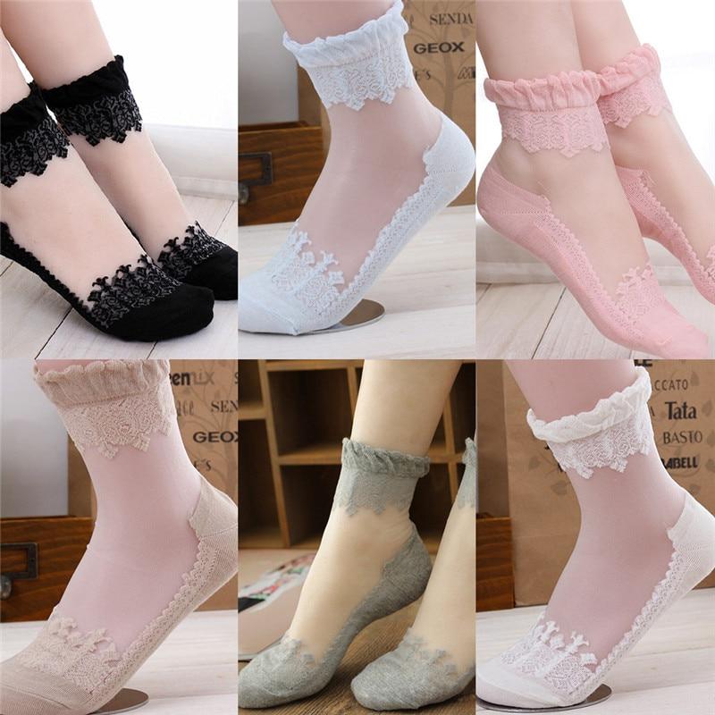 KLEEDER Fashion Summer Thin Lace Cotton Soft Short Sock for Women Girls Antiskid Invisible Silk Ankle Socks Wholesale