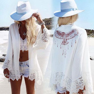 Women Cover Up Beach Wear Dress Summer Bikini Swimwear Lace Print Lady Tops White