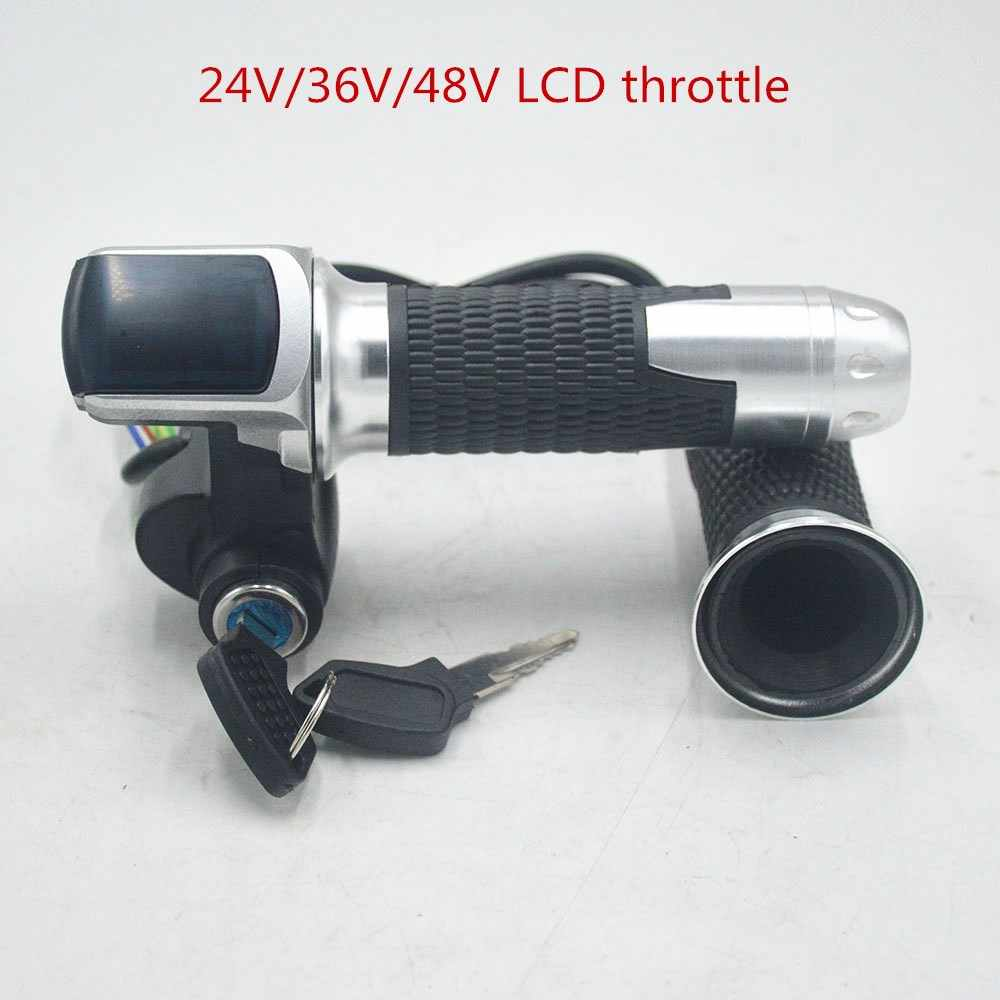 24V 36V 48V e bike twist throttle accelerator with LCD Indicator/Key Lock alloy material for electric bike/bicycle/scooter