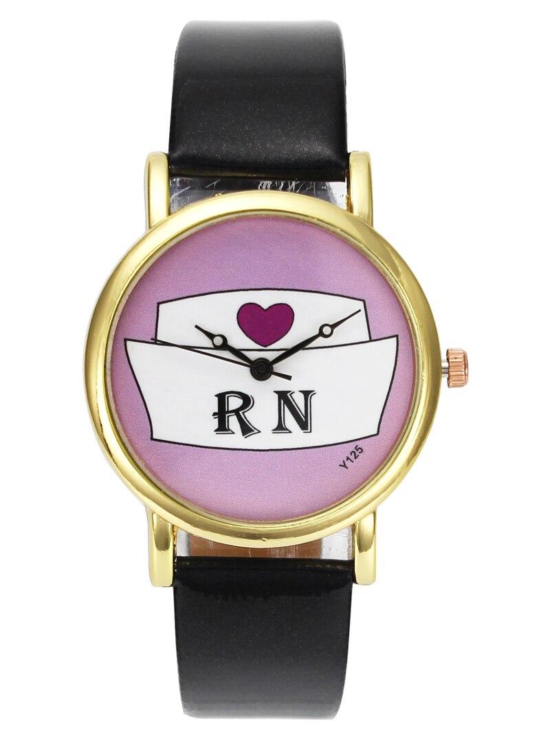 Läkare Sjuksköterska Hjärta Hatt Medicinsk Mode Klockor RN Ladies Sjuksköterskor Dag Guld Väska Kvarts Armbandsur Present