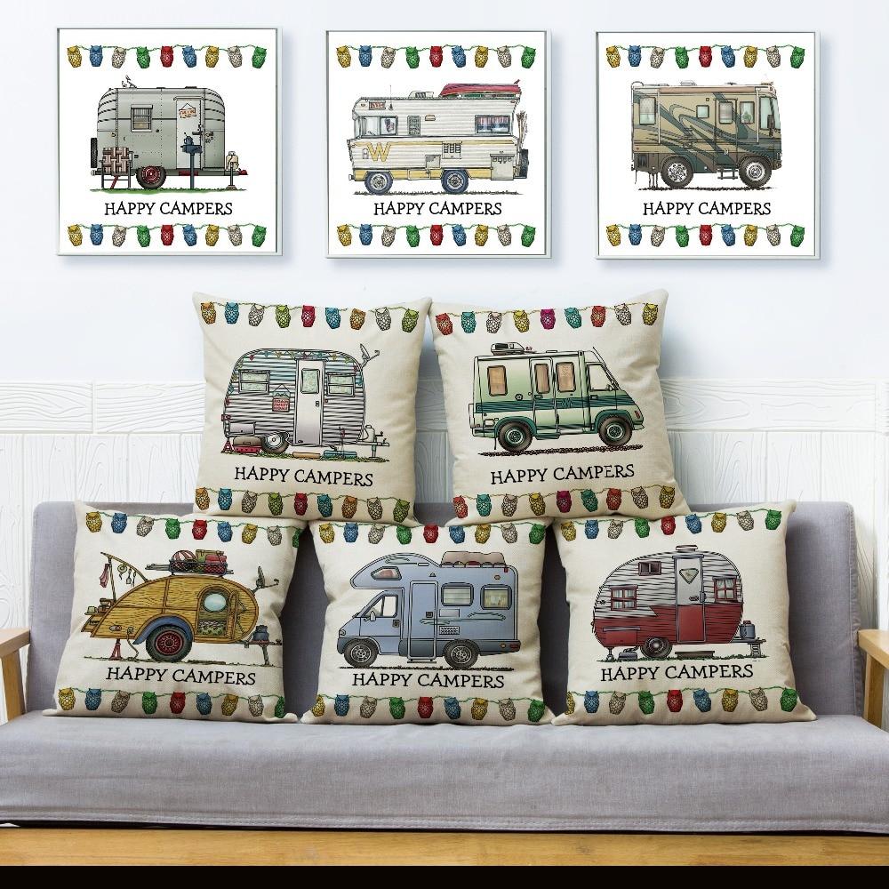 Cartoon Happy Campers Car Cushion Cover Home Decor Linen 45*45cm Pillow Owl Pillow Case for Sofa Home Living Room