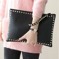 Rivet envelope bag fashion star style Ladies clutch purses Women's handbag Clutches evening bags Black and red bolsa feminina