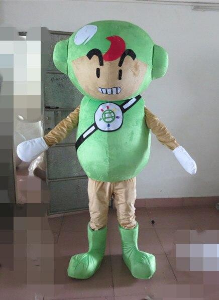 Nouveauté 2014 personnage de dessin animé adulte belle poupée verte heureuse mascotte Costume fantaisie robe costume de fête