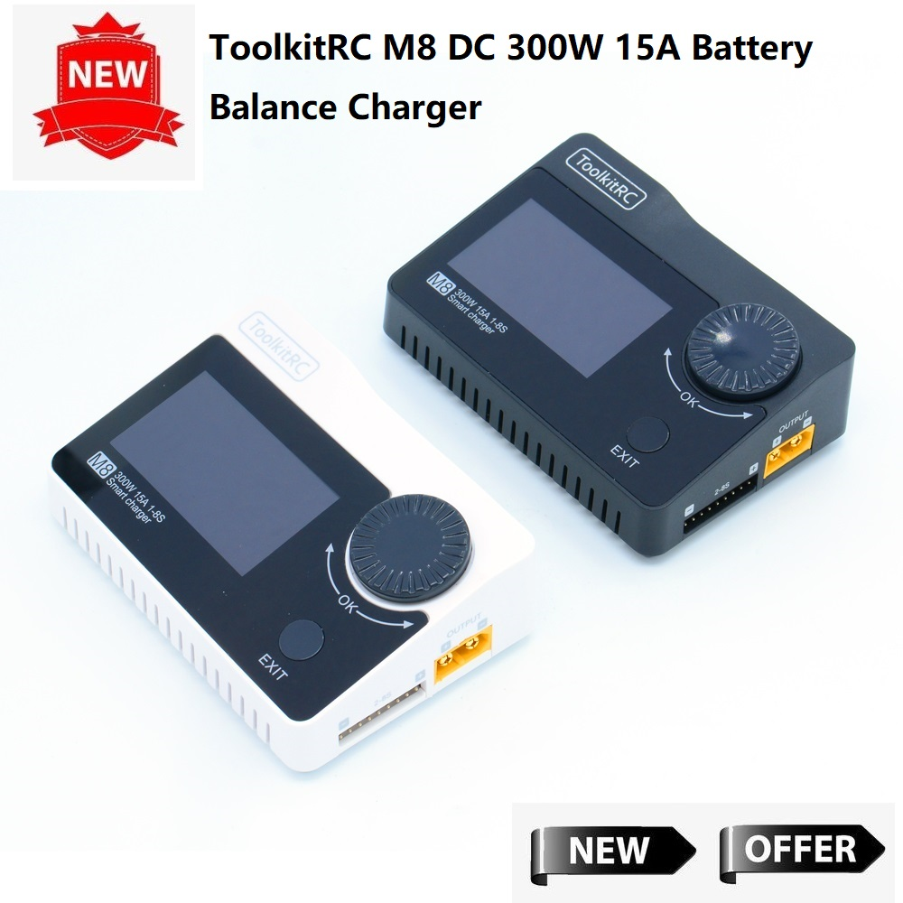 ToolkitRC M8 DC 300W 15A Battery Balance Charger Discharger for 2 8S Lipo Battery for RC FPV Racing Drone Quadcopter
