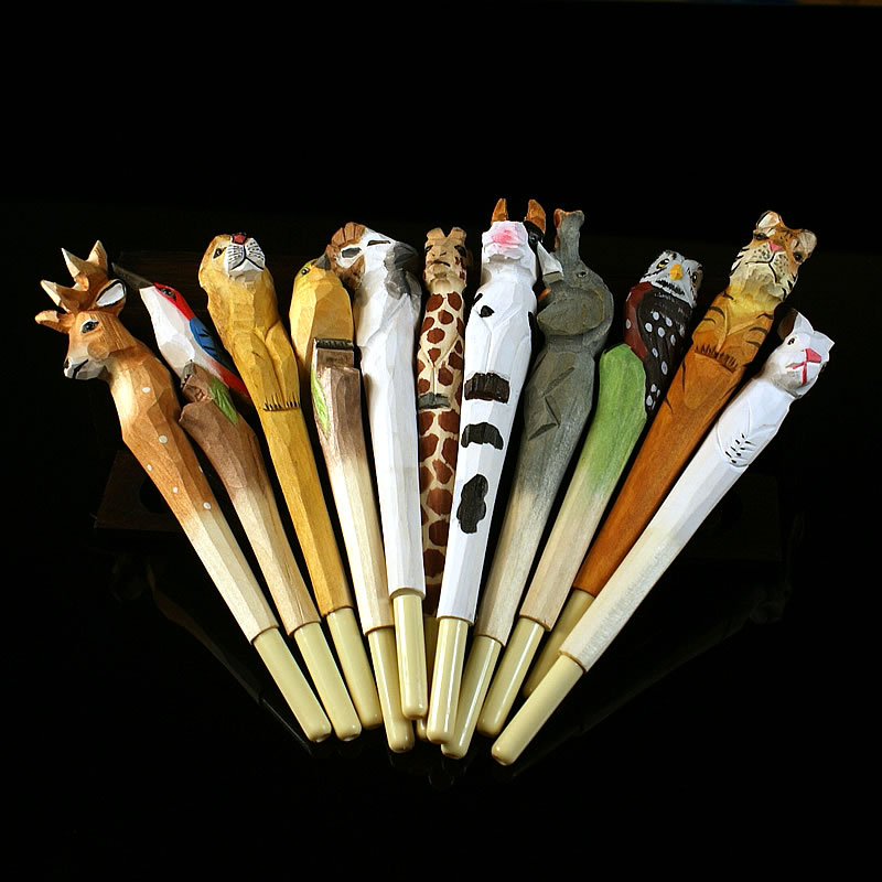 5 pieces for a lot Handmade Carved Solid Wood Animal Refill Pens